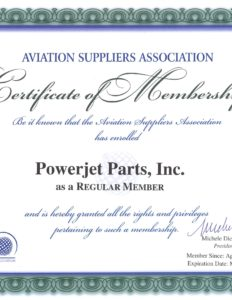 AVIATION SUPPLIERS ASSOCIATION Certificate